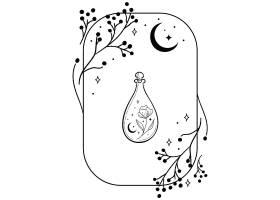 清酒瓶子许愿瓶主题装饰图案设计