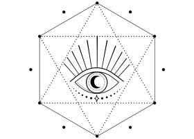 眼睛六边形主题装饰图案设计