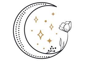 月亮花卉主题装饰图案设计