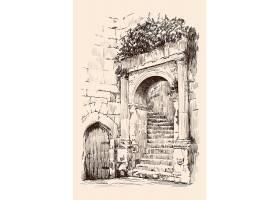 复古城堡楼梯主题手绘插画场景素材
