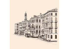 欧洲小镇主题手绘插画场景素材