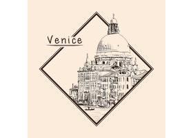 威尼斯主题手绘插画场景素材