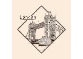 伦敦主题场景手绘插画