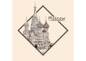 莫斯科主题场景手绘插画