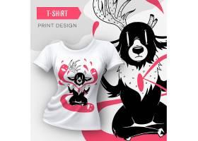 炫酷手绘插画白色女性T恤图案设计