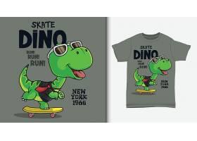 可爱的恐龙儿童T恤服装图案插画设计