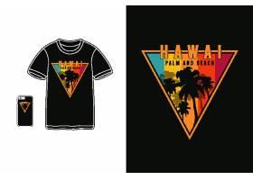 热带海岛条纹彩虹色黑底T恤插画图案设计