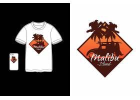 热带海岛度假条纹彩虹色黑底T恤插画图案设计
