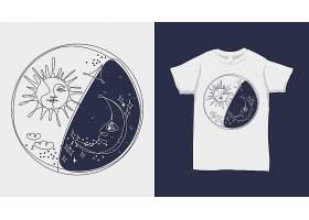 精美个性日月白天黑夜原创T恤图案设计
