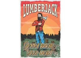 美式复古森林砍伐的男子主题经典T恤图案插画设计