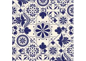 民俗风格创意蓝色欧式花纹底纹边框设计