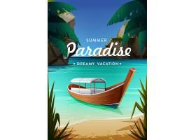 海邊沙灘小木船主題海報設計