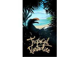 熱帶海洋棕櫚椰樹大嘴鳥海灘陽光主題海報設計