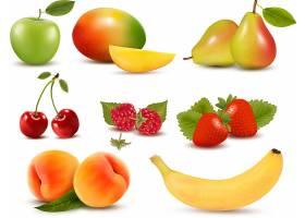 香蕉草莓水蜜桃树莓樱桃芒果香梨青苹果主题插画设计