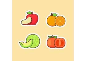 哈密瓜西红柿橘子苹果主题插画设计