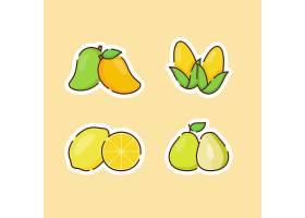 芒果玉米柠檬香梨主题插画设计