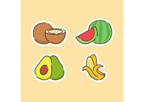 椰子牛油果香蕉西瓜主题插画设计