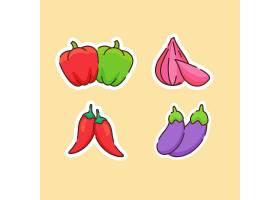 洋葱辣椒茄子主题插画设计
