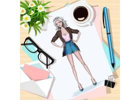 手绘美丽的年轻和时尚女孩