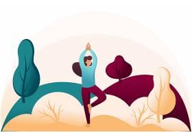 创意卡通瑜伽女人