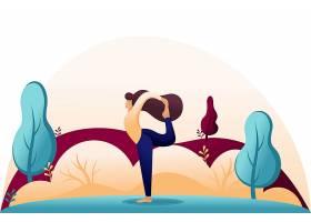 户外做瑜伽锻炼的卡通女人