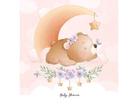 小清新卡通熊插画