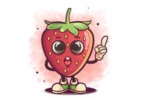 手绘可爱的卡通草莓动物创意