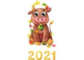 手绘2021卡通牛
