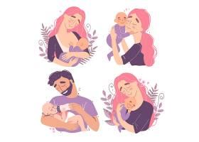 抱着婴儿宝宝的家长人物形象活动插画设计
