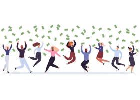 欢呼跳跃捡钱的人人物形象活动插画设计