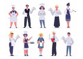 烹饪厨师与服务员人物形象活动插画设计
