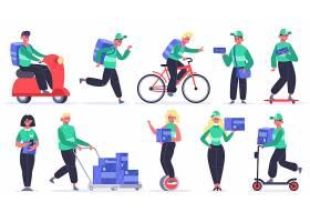 不同快递送货方式的人人物形象活动插画设计