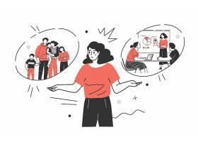 家庭与事业两难的女性人物形象活动插画设计