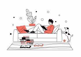 居家看书的人人物形象活动插画设计