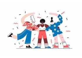 友好关系建立人物抱在一起人物形象活动插画设计