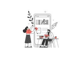 看书阅读的人人物形象活动插画设计