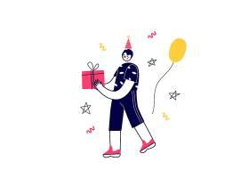 生日快乐男孩人物形象活动插画设计