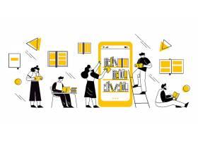 图书馆看书阅读人物形象活动插画设计