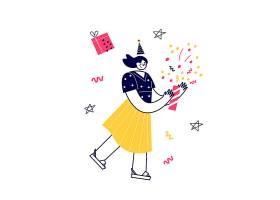 节日风格女性人物形象活动插画设计