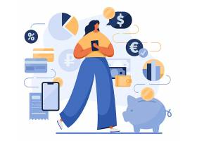 金融理财女性人物形象活动插画设计