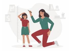 给孩子记录身高的妈妈人物形象活动插画设计