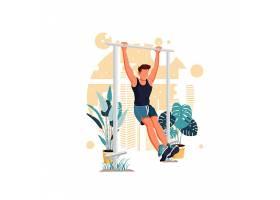 引体向上健身男子人物形象活动插画设计