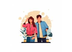 时尚潮流情侣人物形象活动插画设计