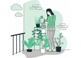 给盆栽浇水淋花人物形象活动插画设计
