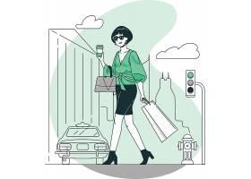 逛街购物时尚女性人物形象活动插画设计