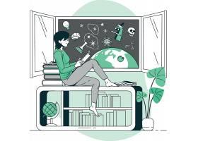考研学习看书的女孩人物形象活动插画设计