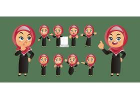 头巾包裹头部的女性人物形象活动插画设计