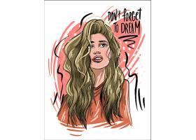 年轻女性彩铅手绘速写艺术人物插画设计