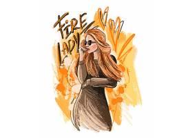 金发时尚女性彩铅手绘速写艺术人物插画设计