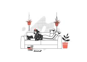 趴着沙发上看书的女孩人物形象活动插画设计